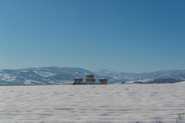Castello di Torrechiara con neve